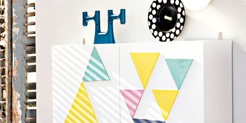 Yellow, Lighting accessory, Shade, Triangle, Circle, Lampshade, Graphic design, Window covering,