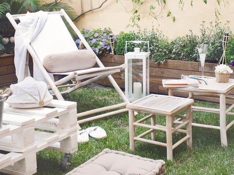 muebles de jardín de madera con palé