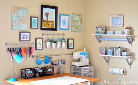 Shelf, Room, Furniture, Shelving, Interior design, Wall, Turquoise, Desk, Orange, Office,