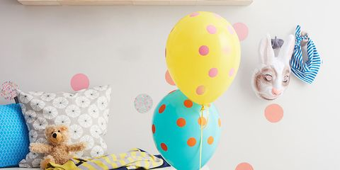 Room, Balloon, Party supply, Turquoise, Teal, Toy, Baby toys, Aqua, Interior design, Home accessories,