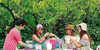 Tablecloth, Furniture, Table, Outdoor furniture, Leisure, Outdoor table, Sitting, Summer, Linens, Sharing,