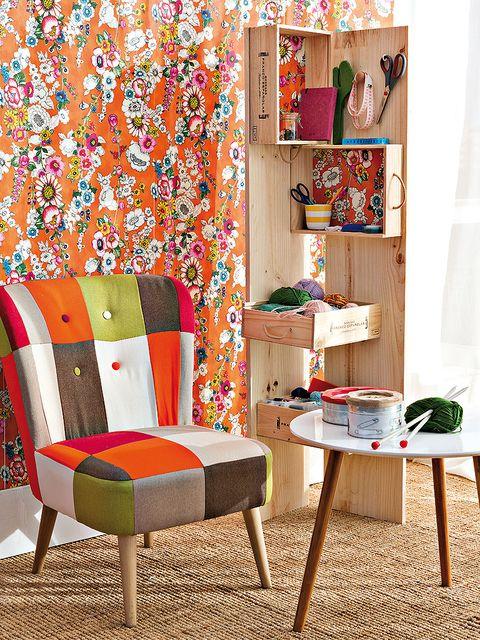 Room, Interior design, Furniture, Orange, Interior design, Wallpaper, Shelving, Peach, Creative arts, Cushion,