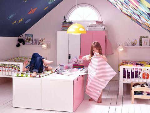 Room, Lighting, Interior design, Textile, Bed, Bedding, Furniture, Linens, Pink, Bed sheet,