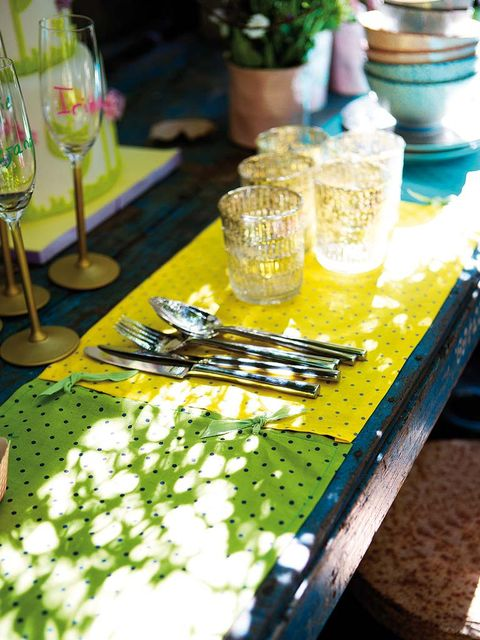 Green, Yellow, Table, Tablecloth, Food, Plant, Linens, Vegetarian food, Furniture, Flower,