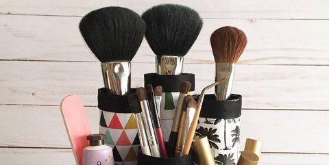 Brush, Makeup brushes, Cosmetics, Pink, Material property, Tool, Cylinder, Lipstick,