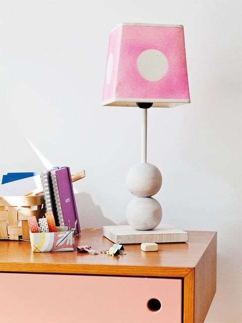 Pink, Lampshade, Furniture, Table, Lighting accessory, Nightstand, Lamp, Desk, Lighting, Wall,
