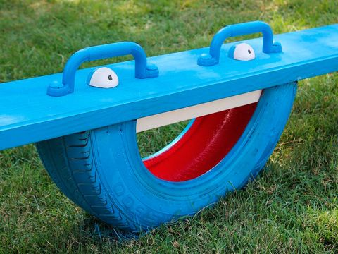 Blue, Grass, Green, Public space, Automotive tire, Electric blue, Tread, Synthetic rubber, Plastic, Gas,