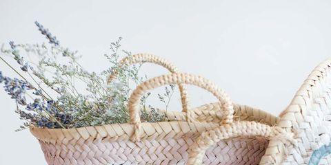 Flowerpot, Basket, Home accessories, Creative arts, Wicker, Interior design, Peach, Pottery, Storage basket, Craft,
