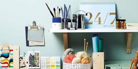 Shelf, Turquoise, Desk, Furniture, Shelving, Room, Office, Computer desk, Table, Interior design,