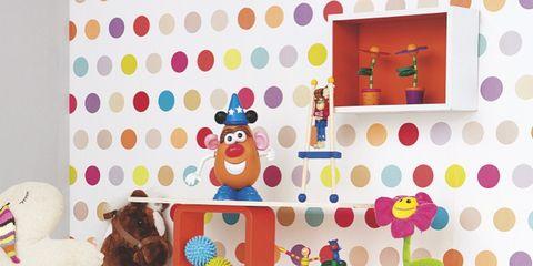 Room, Shelving, Child art, Creative arts, Craft, Shelf, Baby toys, Polka dot,