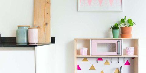Shelf, Furniture, Shelving, Room, Desk, Pink, Table, Kitchen, Interior design, Hutch,