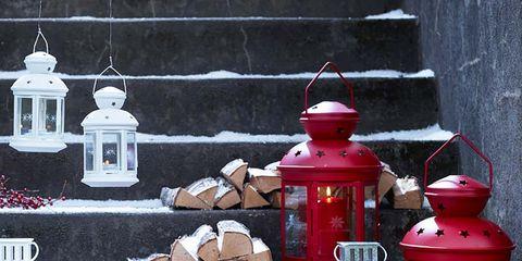 Red, Lantern, Still life, Still life photography, Window, Glass, Winter,