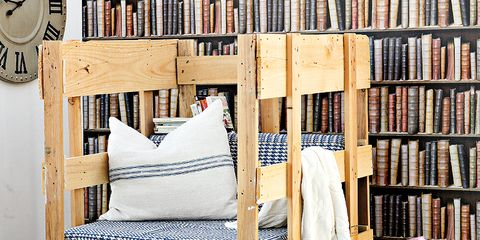 Wood, Textile, Room, Furniture, Shelving, Wall clock, Shelf, Hardwood, Publication, Linens,