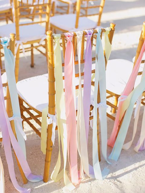 Pink, Yellow, Branch, Chiavari chair, Chair, Furniture, Folding chair, Room, Textile, Party supply,