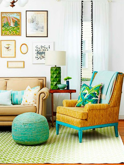 Living room, Furniture, Room, Green, Interior design, Turquoise, Aqua, Yellow, Couch, Table,