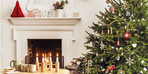 Christmas decoration, Christmas tree, Red, Room, Tree, Christmas, Interior design, Living room, Home, Christmas eve,