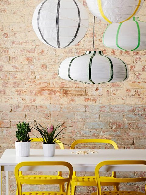Yellow, Flowerpot, Room, Interior design, Wall, Interior design, Houseplant, Circle, Vase, Coffee table,