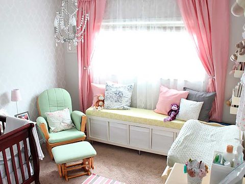 Room, Interior design, Green, Textile, Furniture, Home, Pink, Interior design, Wall, Pillow,