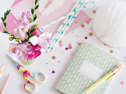 Pink, Petal, Pattern, Kitchen utensil, Cutlery, Artificial flower, Floral design, Polka dot, Cut flowers, Hair accessory,