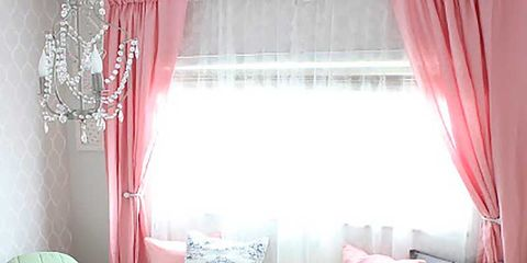 Room, Interior design, Green, Textile, Furniture, Pink, Interior design, Home, Window treatment, Linens,
