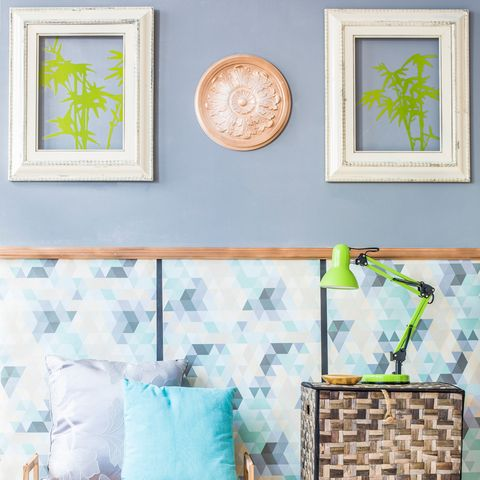 Green, Wall, Room, Teal, Picture frame, Interior design, Paint, Aqua, Turquoise, Botany,