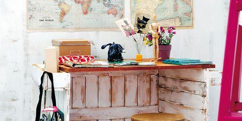 Room, Magenta, Stool, Musical instrument accessory, Bag, Paint, Peach, Bar stool, Shelving, Baggage,