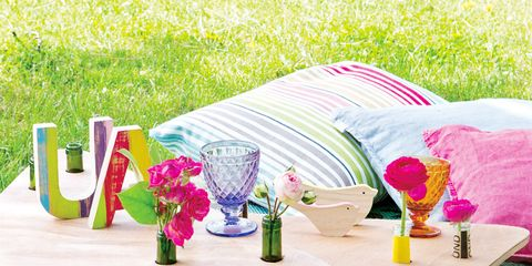 Table, Furniture, Outdoor furniture, Linens, Outdoor table, Petal, Tablecloth, Home accessories, Drinkware, Serveware,