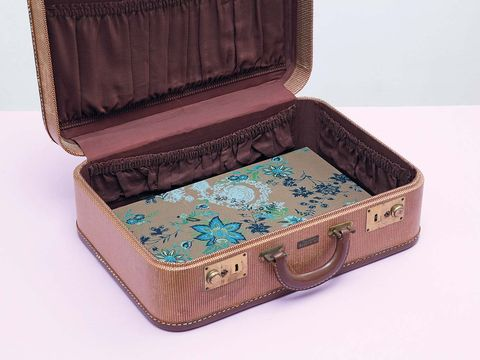 Brown, Rectangle, Teal, Beige, Wallet, Baggage, Musical instrument accessory, Box,