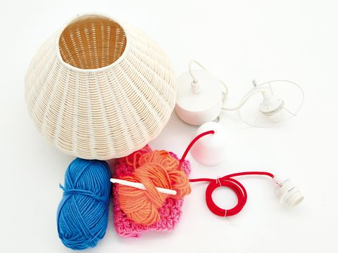 Textile, Thread, Craft, Circle, Fiber, Home accessories, Lampshade, Knot,
