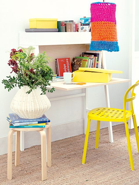 Yellow, Room, Flowerpot, Furniture, Interior design, Shelving, Interior design, Shelf, Teal, Creative arts,