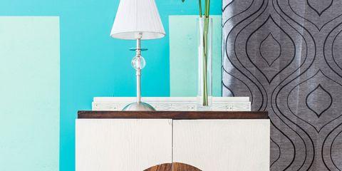 Wood, Teal, Lampshade, Turquoise, Aqua, Light fixture, Lamp, Pillow, Material property, Plywood,