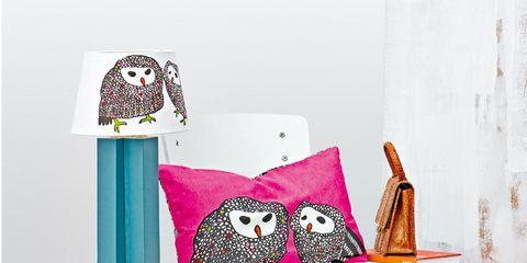 Room, Interior design, Textile, Pattern, Interior design, Bird of prey, Owl, Bird, Maroon, Cushion,
