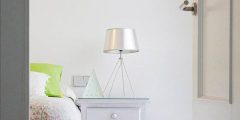 Room, Interior design, Wall, Furniture, Bedding, Bed, Linens, Floor, Bedroom, Lampshade,
