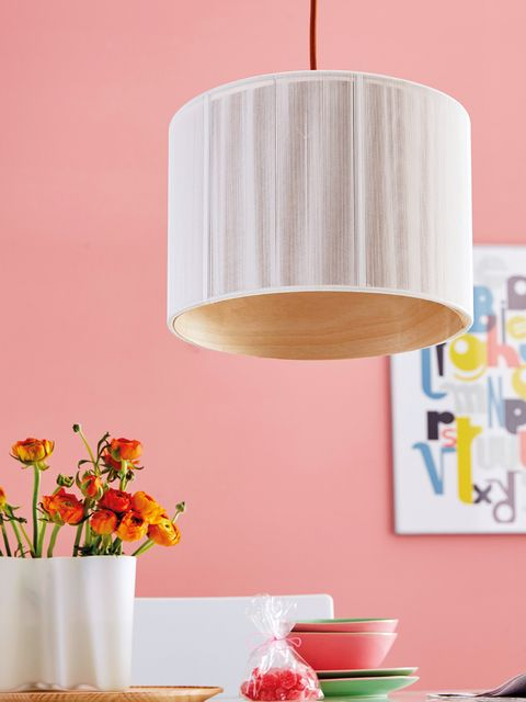Lampshade, Lighting accessory, Lamp, Light fixture, Orange, Lighting, Ceiling, Pink, Yellow, Room,