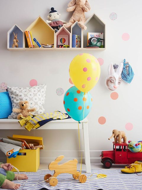 Room, Party supply, Toy, Balloon, Turquoise, Teal, Baby toys, Aqua, Paper product, Baby Products,