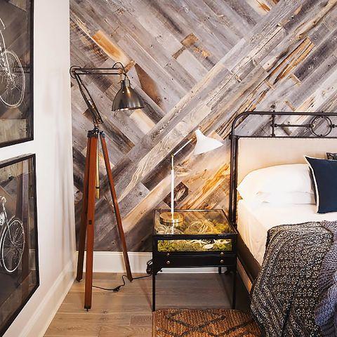 Room, Interior design, Ceiling, Floor, Bed, Bed frame, Iron, Visual arts, Linens, Attic,