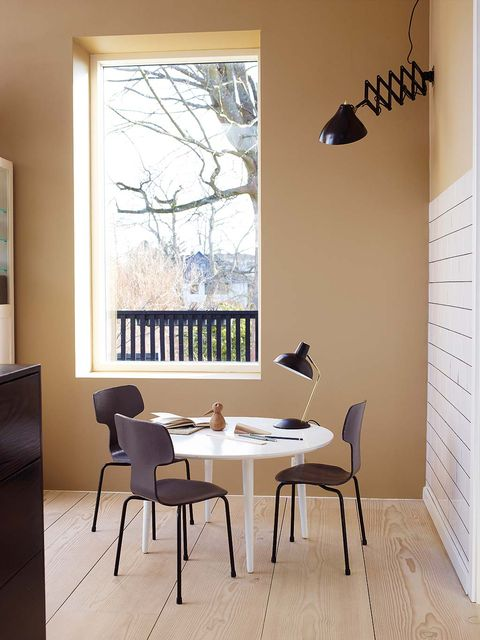 Room, Interior design, Furniture, Table, Wall, Yellow, Floor, Dining room, Building, House,