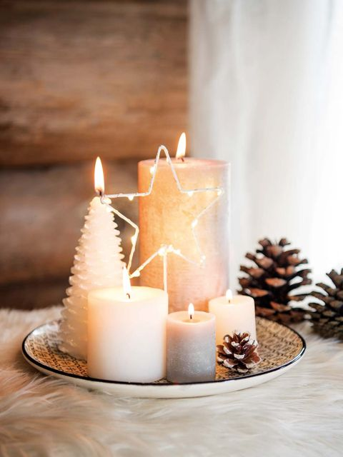 Candle, Lighting, Wax, Interior design, Candle holder, Table, Flameless candle, Pine, Pine family, Christmas decoration,