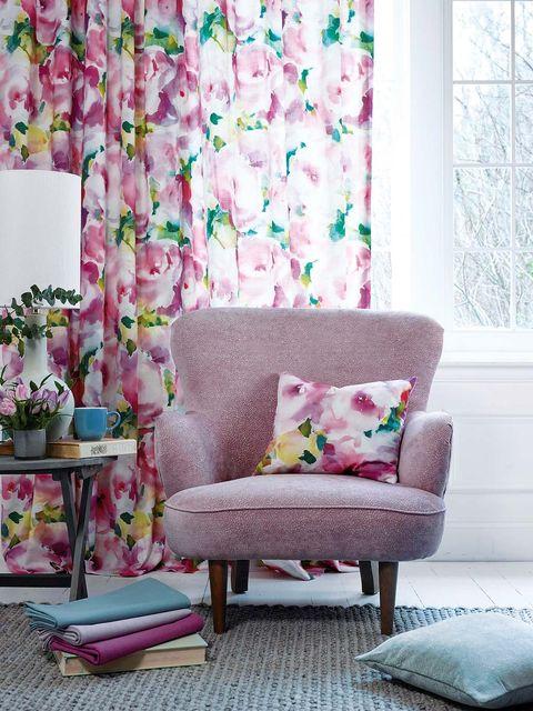 Interior design, Room, Textile, Purple, Pink, Furniture, Interior design, Home, Lavender, Violet,