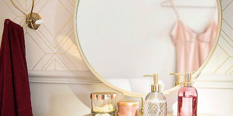 Room, Pink, Interior design, Furniture, Product, Table, Wall, Bedroom, Bathroom, Beige,