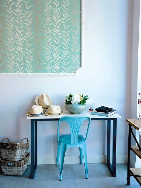 Room, Interior design, Table, Furniture, Basket, Interior design, Teal, Shelving, Turquoise, Still life photography,