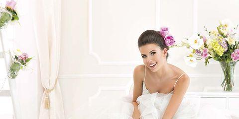 Gown, Dress, Wedding dress, Clothing, White, Shoulder, Bridal clothing, Bride, Pink, Strapless dress,