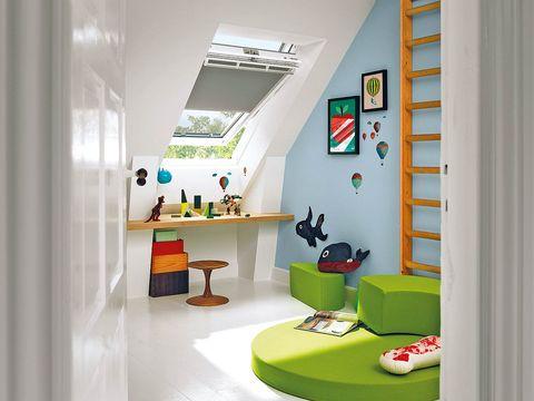 Interior design, Green, Room, Floor, Interior design, House, Fixture, Shelving, Shelf, Daylighting,