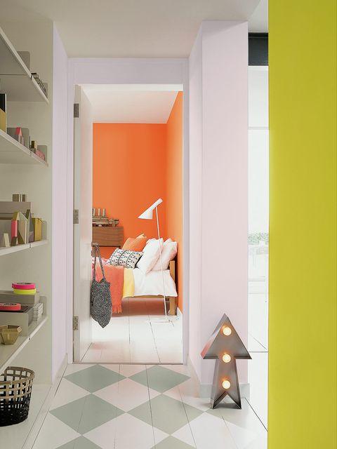 Room, Interior design, Wall, Shelving, Shelf, Floor, Orange, Bed, Peach, Pillow,