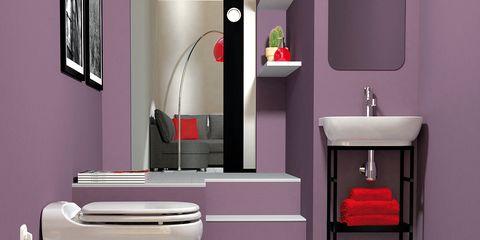 Interior design, Room, Purple, Red, Wall, Floor, Line, Interior design, Bathroom sink, Plumbing fixture,