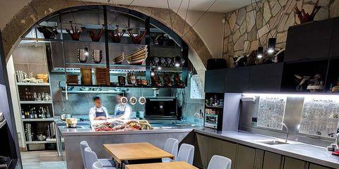 Interior design, Room, Furniture, Table, Light fixture, Shelf, Cupboard, Interior design, Kitchen & dining room table, Shelving,