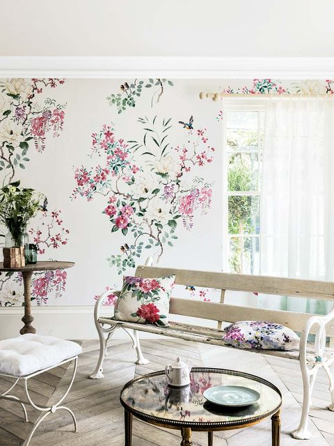 Interior design, Room, Branch, Furniture, Table, Pink, Wall, Interior design, Coffee table, Home,