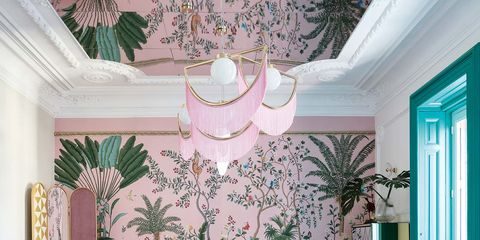 Dining room, Room, Green, Interior design, Turquoise, Furniture, Property, Wallpaper, Wall, Pink,