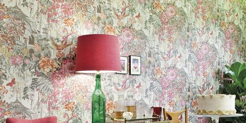 Pink, Room, Interior design, Furniture, Green, Wall, Wallpaper, Red, Table, Living room,