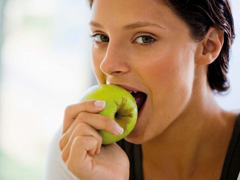 Biting, Skin, Fruit, Beauty, Nose, Neck, Food, Eye, Lip, Mouth,